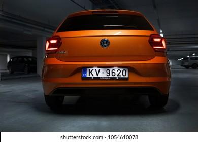 Riga, LV - MART 24, 2018: Volkswagen Polo on underground parking