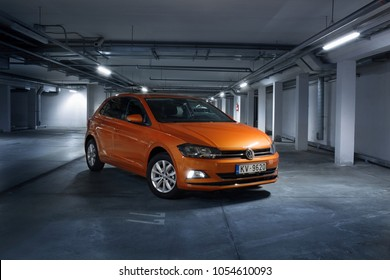 Riga, LV - MART 24, 2018: New Volkswagen Polo on underground parking of business centre