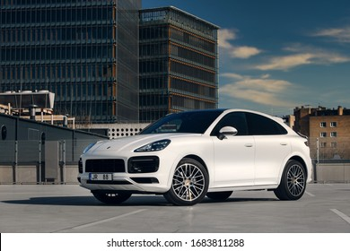Riga, LV - MART 26, 2020: Porsche Cayenne Coupe at the parking