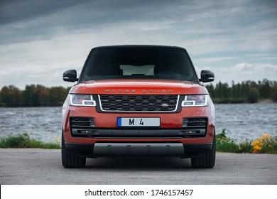 Riga, LV - MAY 21, 2020: Range Rover SVAutobiography near river