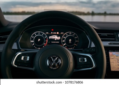 Riga, LV - MAY 27, 2017: New Volkswagen Arteon R line interior with beautiful view on river panorama