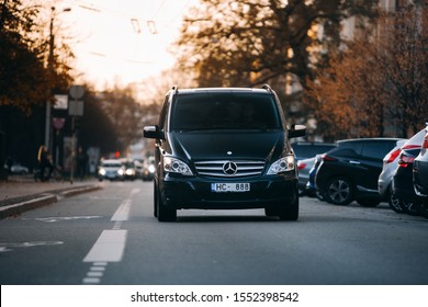 Riga, LV - OCT 25, 2019: Mercedes-Benz Viano at the city centre