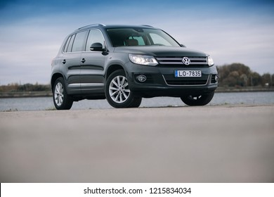 Riga, LV - OCT 29, 2018: Volkswagen Tiguan near river front view