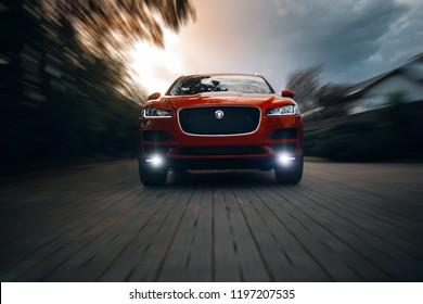 Riga, LV - SEP 29, 2018: Jaguar F-Pace rides fast