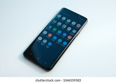 RIGA, MARCH 2018 - A newely launched Samsung Galaxy S9 Plus smartphone is displayed for editorial purposes