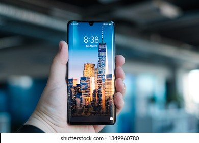 RIGA, MARCH 2019 - Recently launched Huawei P30 Pro smartphone with tripple Leica camera is displayed for editorial purposes