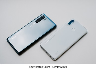 RIGA, MMAY 2019 - Recently launched HUAWEI P30 LITE smartphone is displayed together wit HUAWEI P30 PRO for editorial purposes