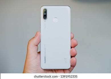 RIGA, MMAY 2019 - Recently launched HUAWEI P30 LITE smartphone is displayed for editorial purposes