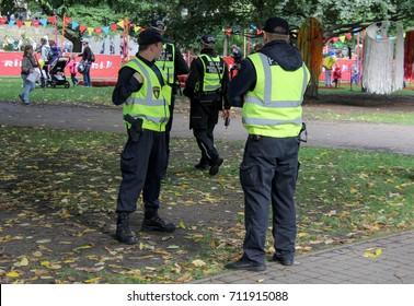 Riga Municipal Police in the park Latvia photo taken in september 9, 2017.