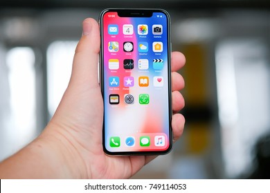 RIGA, NOVEMBER 4 - Newly launched Apple iPhone X is displayed for editorial purposes