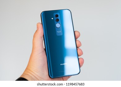 RIGA, OCTOBER 2018 - Recently launched Huawei Mate 20 Lite smartphone is displayed for editorial purposes