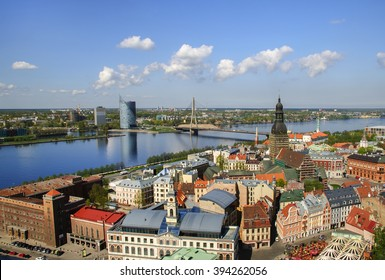 Riga, the old town and the river Daugava
