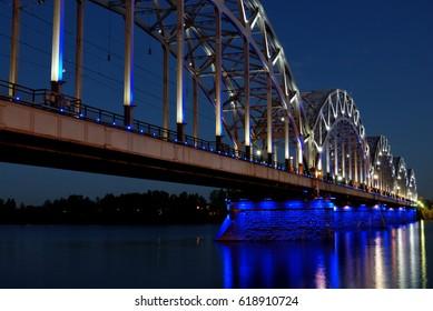 Riga Railway Bridge at night, Latvia