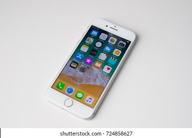 RIGA, SEPTEMBER 2017 - The new Apple smartphone iPhone 8 is displayed for editorial purposes