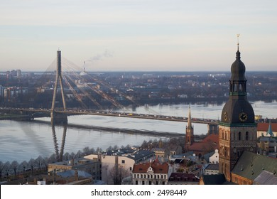 Riga view in the morning from the St. Peter's church tower