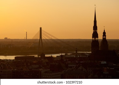 Riga view in sunset time