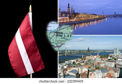 Riga views and Latvian national flag in collage