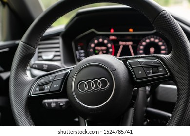 Riga,Latvia 20 September 2019, Audi A1 Sportback Second generation, Summer time mood. Interior close up view, Audi navigation system. Wheel and automatic gearbox.
