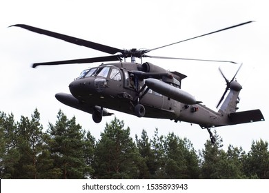 Riga/Latvia - August 18, 2019: American Army Sikorsky UH-60 Black Hawk helicopter at the military training in Riga, Latvia