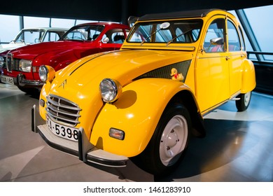 Riga/Latvia July 5, 2019  The Citroën 2CV is an air-cooled front-engine, front-wheel-drive economy car introduced at the 1948 Paris .