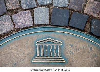 Riga/Latvia July 5, 2019 UNESCO logo. UNESCO, the United Nations Educational, Scientific and Cultural Organization is a specialized agency of the United Nations based in Paris