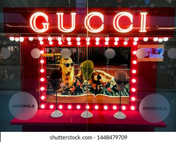 Riga/Latvia July 9, 2019 Gucci is an Italian luxury brand of fashion and leather goods.