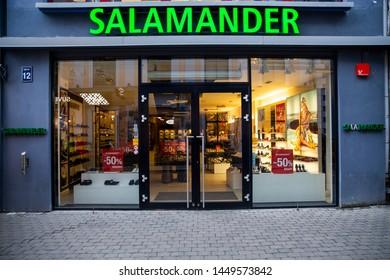 Riga/Latvia July 9, 2019 Salamander shoe store. Salamander German shoe company. Salamander is part of Ara Group, operates 200 stores in Europe.