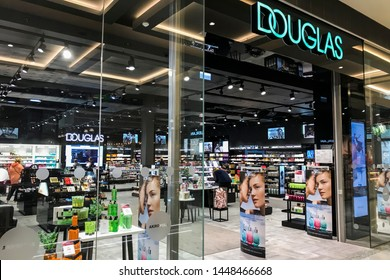 Riga/Latvia July 9.2019 perfumery Douglas window store with premium brand products, perfumery chain Douglas focuses on retailing various premium perfume, fragrance, care, makeup