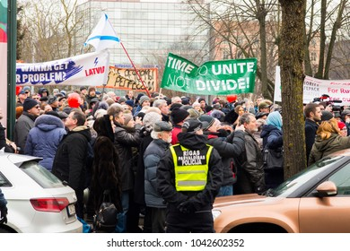 Riga,Latvia ,March 10, 2018 .Meeting in Latvia, People against closing of the Russian schools
