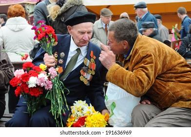 RIGA,LATVIA - MAY 9: Veteran of World war II on the parade May 9, Riga,Latvia.