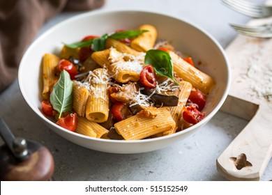 Rigatoni with Aubergine and Cherry Tomato sauce