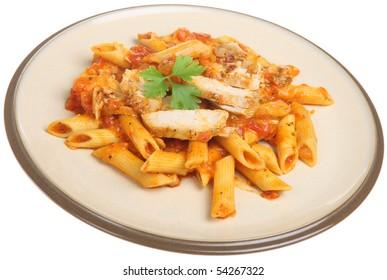 Rigatoni pasta with chicken and tomato sauce.