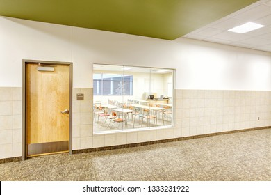 Rigby Idaho, USA August 28, 2013 A classroom in a new modern high school viewed through a window designed to aid in the event of an active shooter.
