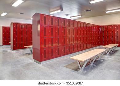 Rigby, Idaho, USA July, 23, 2013 The interior of a new high school locker room.