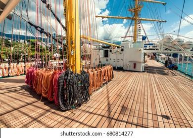 Rigging equipment of a sea ship.