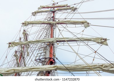 The rigging of a foreamast and mainmast with sails and rotated yards , Hundested, Denmark, July 31, 2018