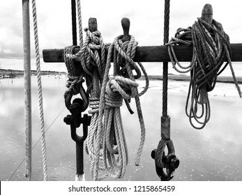 Rigging and knots on a vintage ship, black and white photograph