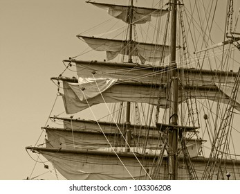 The Rigging and Mast of an Old Sailing Ship