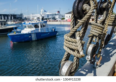 Rigging on the deck of an old sailing ship, close-up