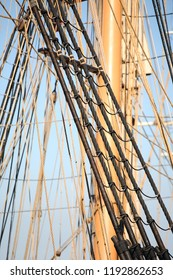 Rigging and ropes on a historic sailing ship