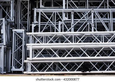 Rigging truss in storage prepare for moving