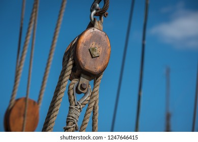 Riggings on historical sailing ship in Greifswald, Germany
