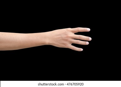 right back hand of a man trying to reach or grab something. fling, touch sign. Reaching out to the left. isolated on black background