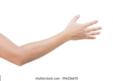 right back hand of a woman trying to reach or grab something. fling, touch sign. Reaching out to the left. isolated on white background