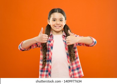 Right choice. Recommendations and advice. Girl cute child show thumbs up gesture. Kid show thumbs up. Girl happy fond of or highly recommend. Thumbs up or like. Best and high quality product.