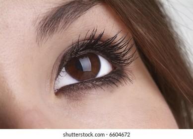 right eye open with glitter eyeshadow