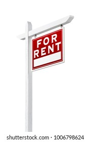 Right Facing For Rent Real Estate Sign Isolated on a White Backgound.