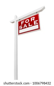 Right Facing For Sale Real Estate Sign Isolated on a White Background.
