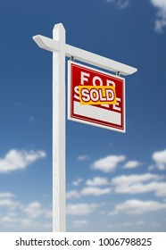 Right Facing Sold For Sale Real Estate Sign on a Blue Sky with Clouds.