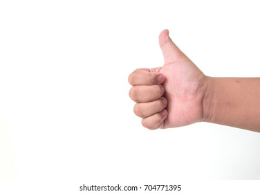 Right hand of a boy Thumbs up On a white backdrop